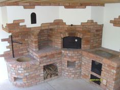 Finished stoves - summer kitchen, if you were hungry . Backyard Kitchen, Summer Kitchen, Outdoor Kitchen Design, Outdoor Oven, Outdoor Cooking, Barbecue Four A Pizza, Barbecue Garden, Brick Bbq, Rustic Home Design