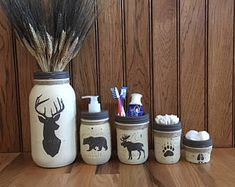Deer, Moose, Bear Mason Jar Bathroom set/Woodland decor/Country rustic bathroom set/Soap jar/Toothbrush holder/Q-tip jar/Mason Jar set