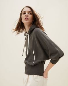 Cashmere sweatshirt-style sweater with shiny pockets Look Man, Sporty Chic, Hooded Sweater, Men's Collection, Cool Suits, Online Boutiques, Pulls, Cashmere Sweaters, Knitwear