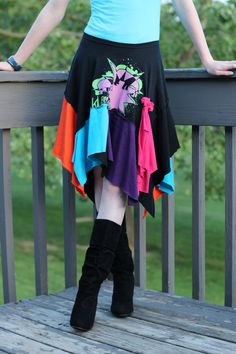 UpCycled Tshirt Skirt  Knives Exchanging Hands by IdeaADay on Etsy, $16.00