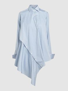 Discover the Asymmetric Striped Cotton Shirt by Palmer//Harding at The Modist. Modest Dresses, Modest Outfits, Modest Fashion, Hijab Fashion, Fashion Outfits, Womens Fashion, Diy Camisa, African Fashion, Blouse Designs