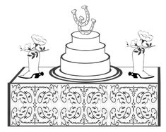 western wedding cake and table to color free printable