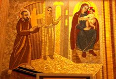 """Mary Pyle, with Our Lady of Grace, greets Padre Pio at the entrance to Paradise.        """"I have made a pact with the Lord: I will take my place at the gate to paradise,   but I shall not enter until I have seen the last of my spiritual children enter."""""""