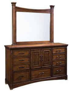 Artisan Loft Traditional Oak Brown Cherry Wood Glass Dresser