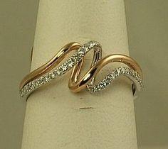 Ladies white and rose gold diamond fashion ring SK