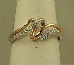 Ladies white and rose gold diamond fashion ring SK