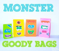 Monster Face Halloween Goody Bags Free Printable - Design Dazzle