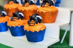 DIY football bleachers for a Denver Broncos football themed party