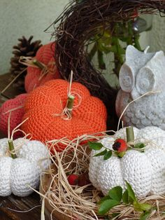 Kouzlo mého domova: Háčkované dýně Crochet Food, Crochet Baby, Thanksgiving Crochet, Crochet Cushions, Halloween Decorations, Fall Decor, Projects To Try, Knitting, Toys