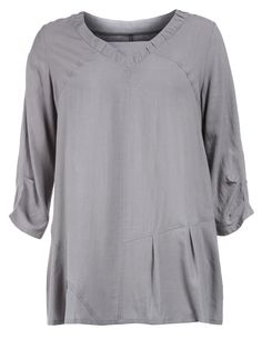 Wide-cut tunic with linen in Grey designed by Isolde Roth to find in Category Shirts & Blouses at navabi.de