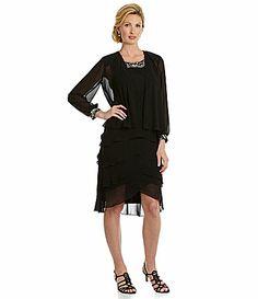 SL Fashions Tulip Tiered Jacket Dress #Dillards