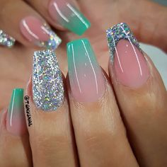 65 Popular Gel Glitter Coffin Nail Designs Nail Art nail art by tony Cute Acrylic Nails, Cute Nails, Pretty Nails, Cute Nail Designs, Acrylic Nail Designs, Popular Nail Designs, Hair And Nails, My Nails, Nail Polish