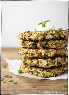 Baked Vegan Zucchini Fritters~ I like that she includes the nutritional value with each recipe. (Good blog to look further into when I have time. ~Joy)