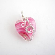 Wire Wrapped Pink Striped Heart Pendant by desertshinejewelry