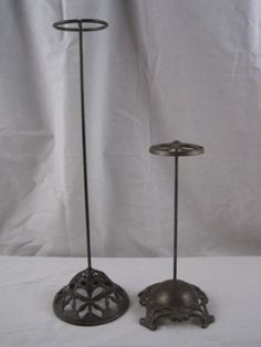 Pair of Vintage Antique Metal Victorian Iron Hat Stands w Ornate Bases | eBay