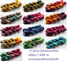 handgefärbte Sockenwolle handdyed sockyarn www.piratenwolle.de
