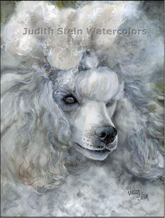 Silver Poodle Watercolor Print by k9stein on Etsy