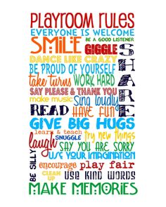 Playroom Rules Primary Colors on White NO PINK by sweetleighmama, $35.00