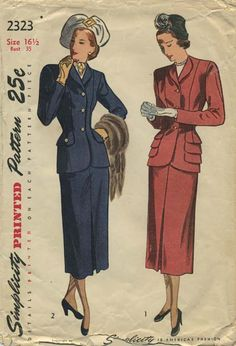 Vintage Suit Sewing Pattern | Simplicity 2323 | Year 1948 | Bust 35 | Waist 29 | Hip 38