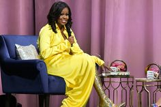 On Wednesday night, Michelle Obama stepped on stage in a pair of thigh-high Balenciaga glitter boots during the final stop of her Becoming book tour. Marriage Advice, Gold Boots, Glitter Boots, Michelle Obama's Dress, Balenciaga Boots, First Ladies, Beautiful Evening Gowns, Beautiful Dresses, Boots