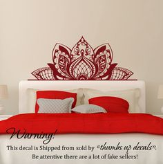 MANDALA Decorate The BEDS Wall Vinyl Decal Morrocan Pattern Sticker Lotus Flower Vinyl Decal Bohemian Boho Decor For Bedroom Home FD204 -- Awesome products selected by Anna Churchill
