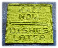Knit Now Dishes Later by Knits by Rachel, via Flickr