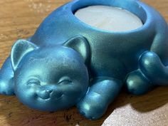 Excited to share this item from my #etsy shop: Happy cat turquoise tea light holder #homedecor #candleholder Tea Light Holder, Me As A Girlfriend, Piggy Bank, Green And Gold, Tea Lights, Candle Holders, It Cast, Etsy Shop, Turquoise