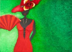 """""""Lady in red"""" - Ölgemälde auf Leinwand mit Strass, Glitzer und Stoffblumen"""