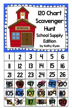 Need a fun way to help your students practice counting to 120? Try this 120 Chart Scavenger Hunt.  Assembling the GIANT 120 chart is simple.  Then you just have to hide the 120 school supply cards all over your classroom. Let your students scour your classroom looking for all of the 120 cards.  As they find them, have them place them on the 120 chart, until you've found them all. Then practice counting to 120.  Your kids will LOVE this!