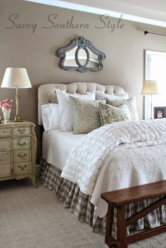 43 Stunning Country Farmhouse Bedroom Ideas 12 Savvy southern Style Adding French Farmhouse Style In the Master 7 Farmhouse Style Bedrooms, French Country Bedrooms, Farmhouse Bedroom Decor, Country Farmhouse Decor, French Farmhouse, Farmhouse Design, Southern Farmhouse, White Farmhouse, Country Bathrooms