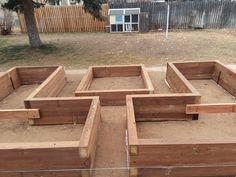 We built our own custom boxes! Building A Raised Garden, Raised Garden Beds, Raised Beds, Garden Ideas Budget Backyard, Garden Planning, Garden Bed Layout, Wooden Garden Planters, Vegetable Garden Design, Diy Garden Projects