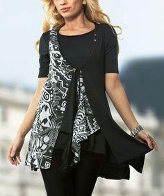 Another great find on #zulily! Black & White Handkerchief Tunic #zulilyfinds