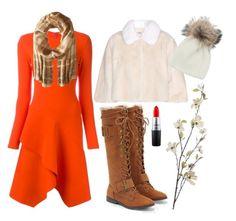 """Winter orange"" by momma2theking on Polyvore featuring JustFab, Givenchy, Lauren Ralph Lauren, MAC Cosmetics, Miu Miu, Pier 1 Imports and Inverni"