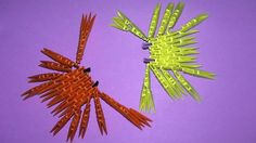 3D origami crab tutorial (instruction) for beginners