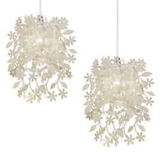 Pair of Modern Cream Shabby Chic Ceiling Light Shades Chandeliers Lampshades NEW