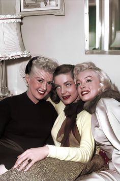 Betty Grable, Lauren Bacall and Marilyn Monroe behind the scenes of 'How to Marry a Millionaire' 1953.