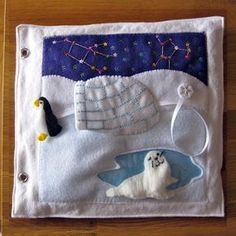 Penguin & Igloo Quiet Book Page. Fun idea too. The penguin can move, but is attached to a ribbon (and star) so that they can't loose it (as easy anyway!).