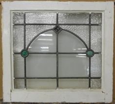 "OLD ENGLISH LEADED STAINED GLASS WINDOW Simple Geometric 20.25"" x 18.25"""
