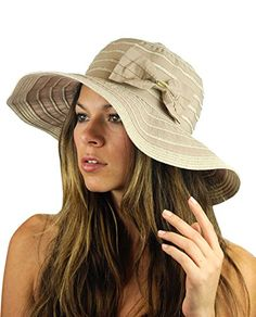 NYFASHION101 Crushable Two Tone Weaved Removable Bow Floppy Brim Sun Hat -  Latte - http  4a40e0cc72d