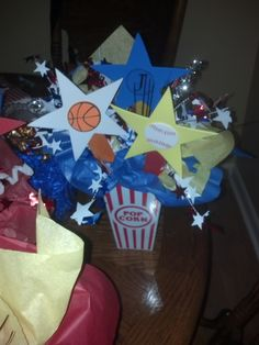 Sports themed baby shower centerpiece (Made by me) Baby Shower Fall, Fall Baby, Baby Shower Themes, Baby Boy Shower, Baby Showers, Shower Ideas, Sports Theme Birthday, Birthday Fun, Birthday Party Themes
