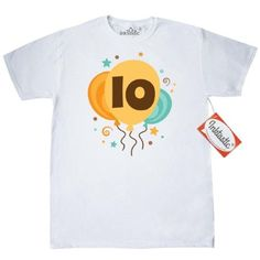 20f9558c16e Inktastic 10th Birthday Balloons T-Shirt 10 Years Old Party Ten Celebration  Tenth Year Im Turning Mens Adult Clothing Apparel Tees T-shirts Hws
