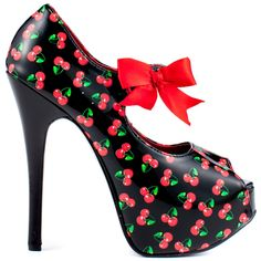 Satisfy your sugar tooth with this Viva Bordello pump.   Twin City showcases a black patent upper printed with an adorable cherry pattern.  A dainty red bow at the vamp, a 5 3/4 inch heel and 1 1/2 inch platform completes this feminine look.