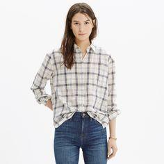 Oversized Boyshirt in Pebble Plaid : shirts & tops   Madewell