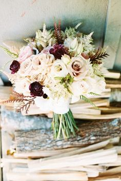 Fall wedding bouquet idea - blush + burgundy bouquet with roses and astilbe {Keepsake Memories Photography}