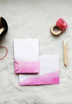Poppytalk: Dip Dyed Valentine's Day Stationery