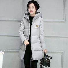 Woman Winter Jacket and Coat Fashion Cotton Padded Jacket Long Style Hood Slim Parkas Plus Size Thicken Female Outerwear