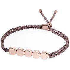 Monica Vinader Linear Bead rose gold vermeil and woven bracelet (€150) ❤ liked on Polyvore featuring jewelry, bracelets, bead charms, friendship charm bracelet, braided friendship bracelet, charm jewelry and beaded jewelry