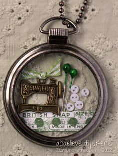 Pocket Watch Case with sewing items - StampingMathilda