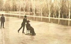 Alfonso XIII y Victoria Eugenia. Lago de la Casa de Campo, 1910