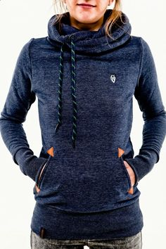 Naketano Darth Long indigo blue melange Women Hoodie Kapuze Pullover